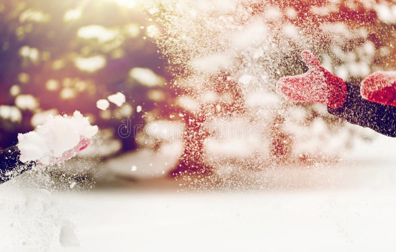 使用与雪的愉快的朋友在冬天 库存照片
