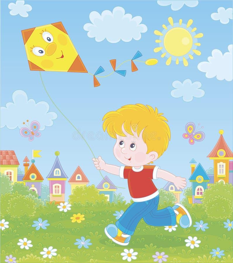 使用与风筝的小男孩 皇族释放例证