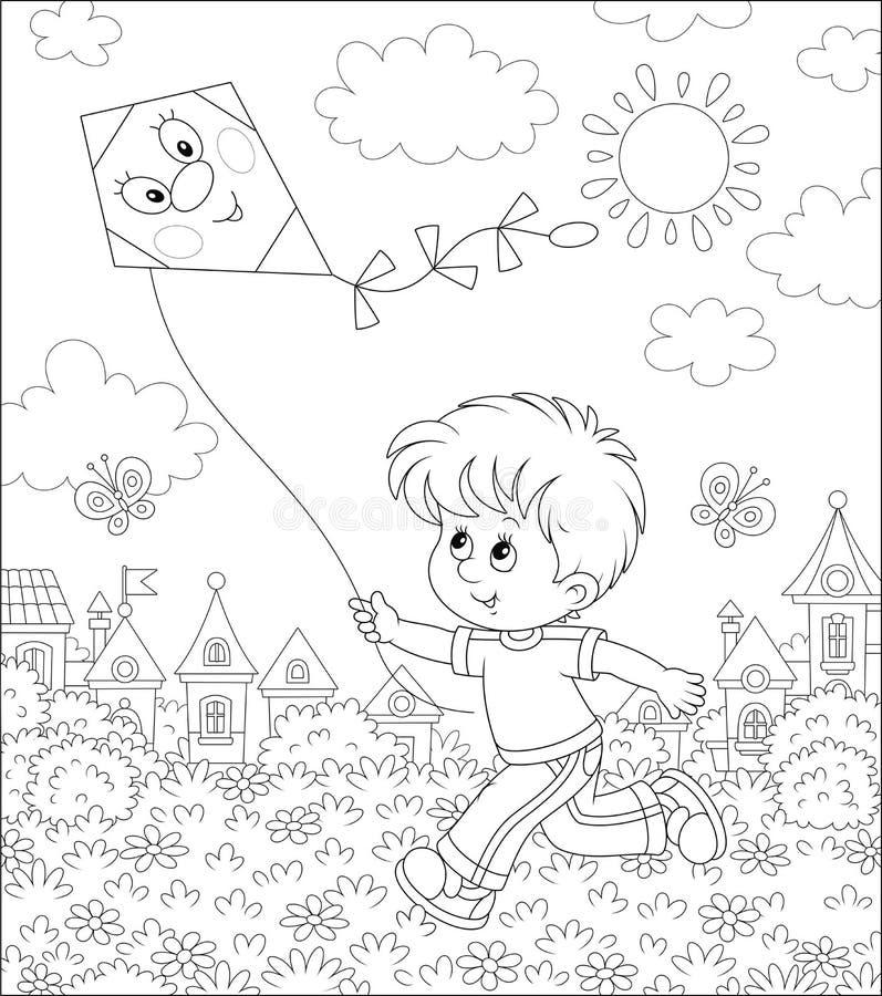 使用与风筝的小男孩 库存例证