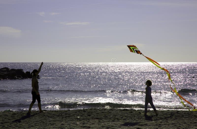 使用与风筝的母亲和儿子 库存图片