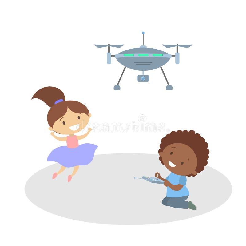 使用与飞行quadcopter或寄生虫的孩子 向量例证