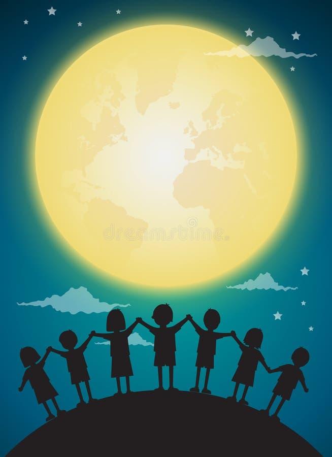使用与满月,背景的孩子 皇族释放例证