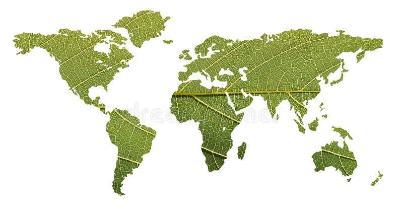 使用世界的平衡概念生态学叶子映射 库存照片