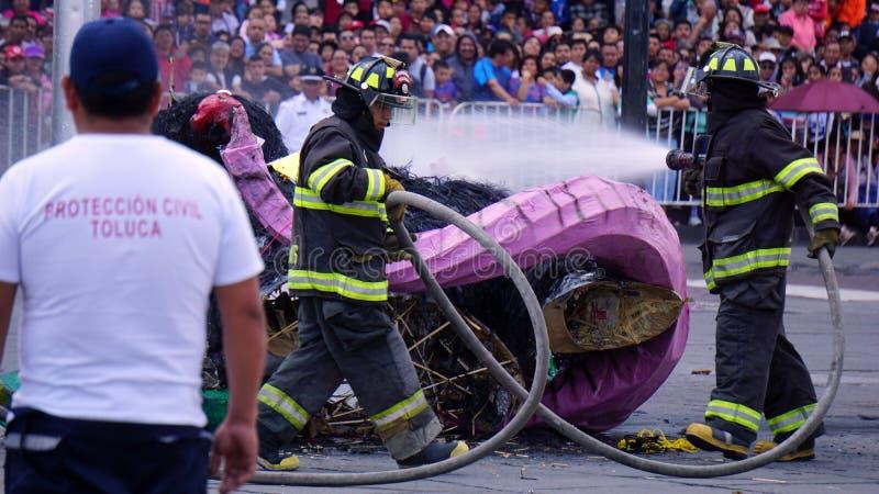 使用他的水管的消防队员 免版税库存图片