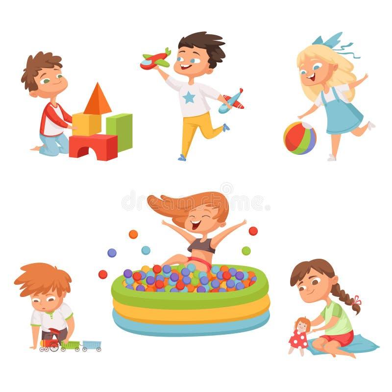 使用以各种各样的玩具的学龄前孩子的 在动画片样式的传染媒介例证 向量例证