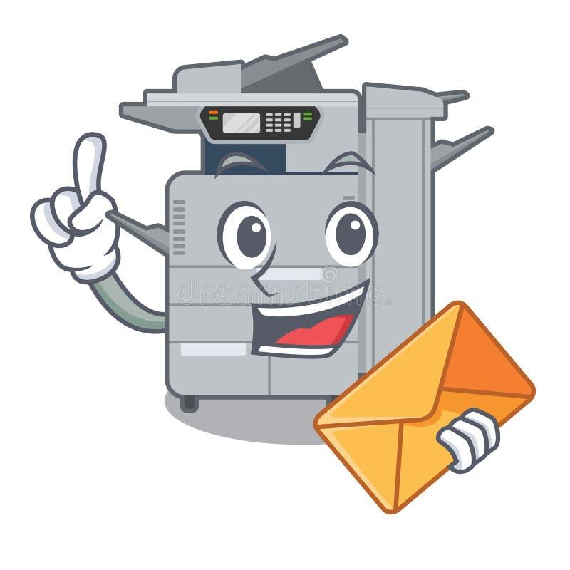使用信封在动画片隔绝的影印机机器 向量例证