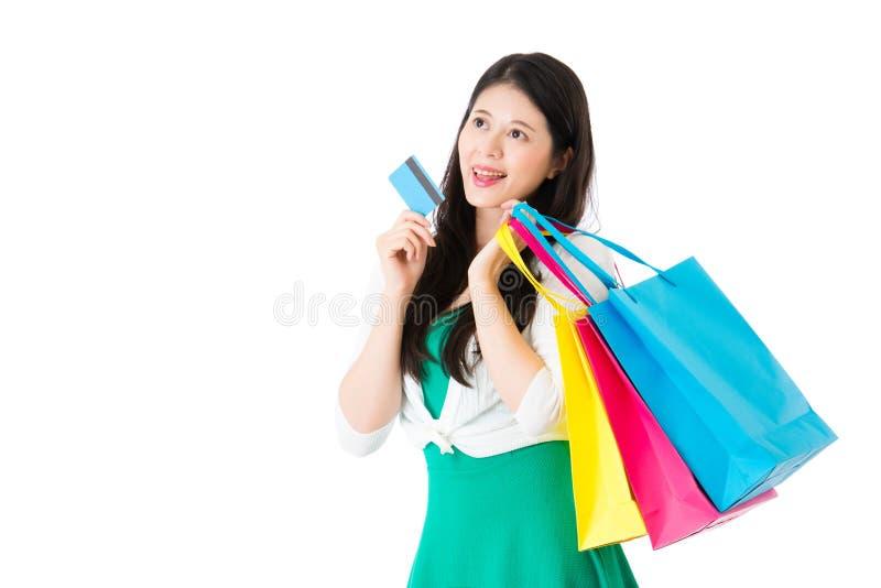 使用信用卡电子商务购物的女孩 库存图片