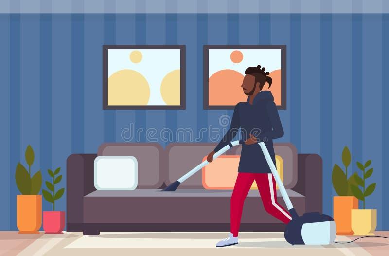 使用做家事家务清洁服务概念的吸尘器非裔美国人的人吸尘的长沙发的人 库存例证