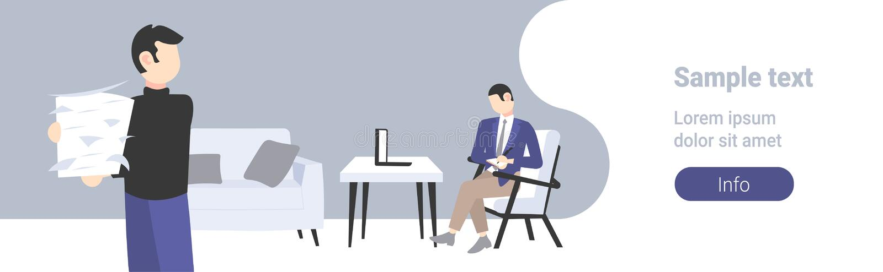 使用做笔记的膝上型计算机的人办公室工作者运载的纸张文件堆商人坐的工作场所运作过程 向量例证