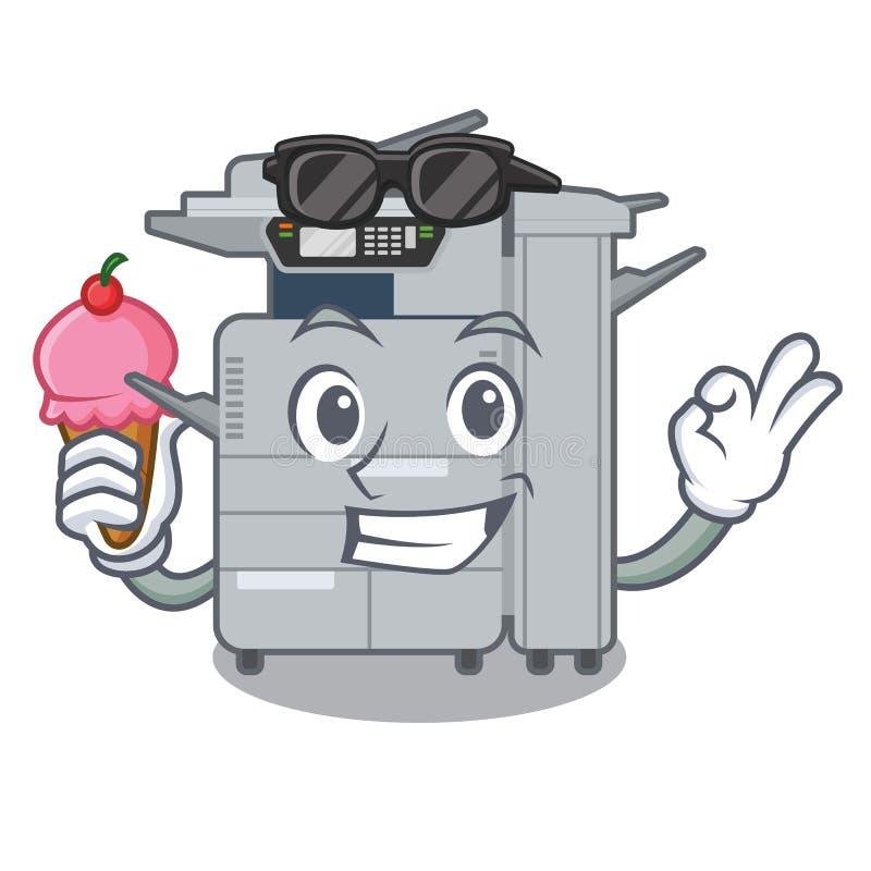 使用冰淇淋在动画片隔绝的影印机机器 皇族释放例证