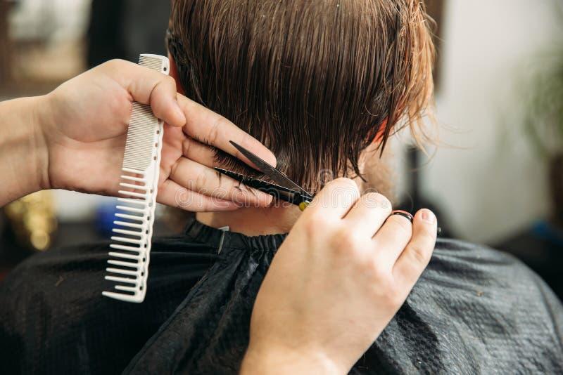 使用剪刀和梳子的理发师在理发店 免版税库存图片