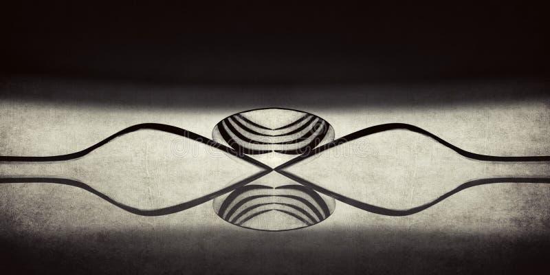 使用叉子和匙子的一个抽象单调图象 免版税库存图片