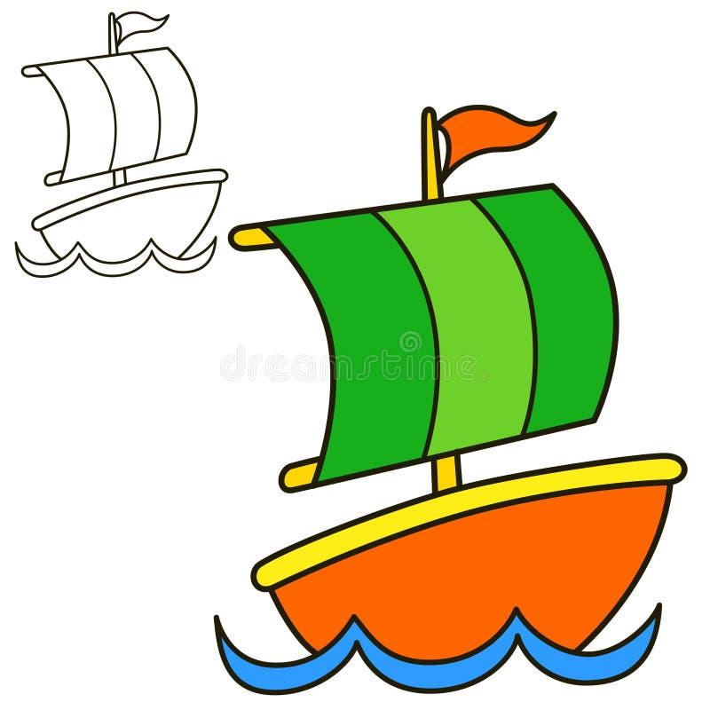 使用向量船的例证略写法准备好的航行 彩图页 向量例证