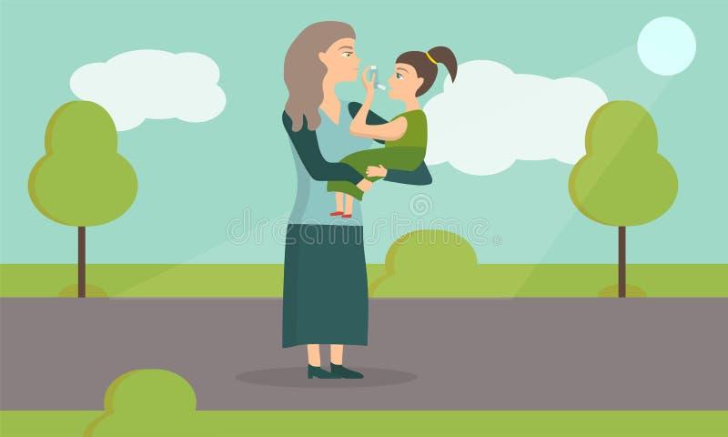 使用吸入器的一个气喘女孩的例证 有婴孩的妈妈在公园 库存例证
