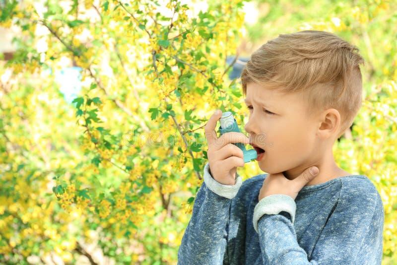 使用吸入器的小男孩在开花的树附近 r 免版税库存照片
