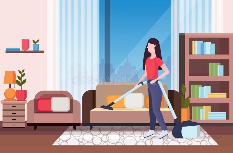使用吸尘器女孩吸尘的长沙发的主妇做家事家务清洁服务概念现代生活 向量例证