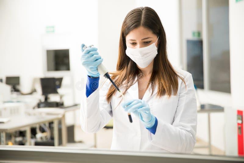 使用吸移管的女性化学家 免版税库存照片