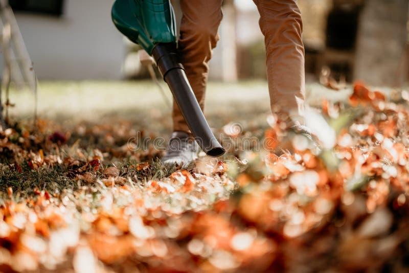 使用吹叶机,真空和工作的花匠在庭院 库存照片