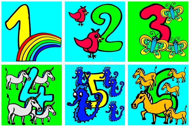 使用和学会与图片的生日快乐数字数字关于从1 - 6的爱好儿童的第2部分 向量例证