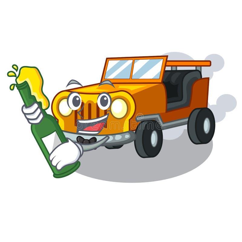 使用啤酒吉普在前面赦免的动画片汽车 向量例证