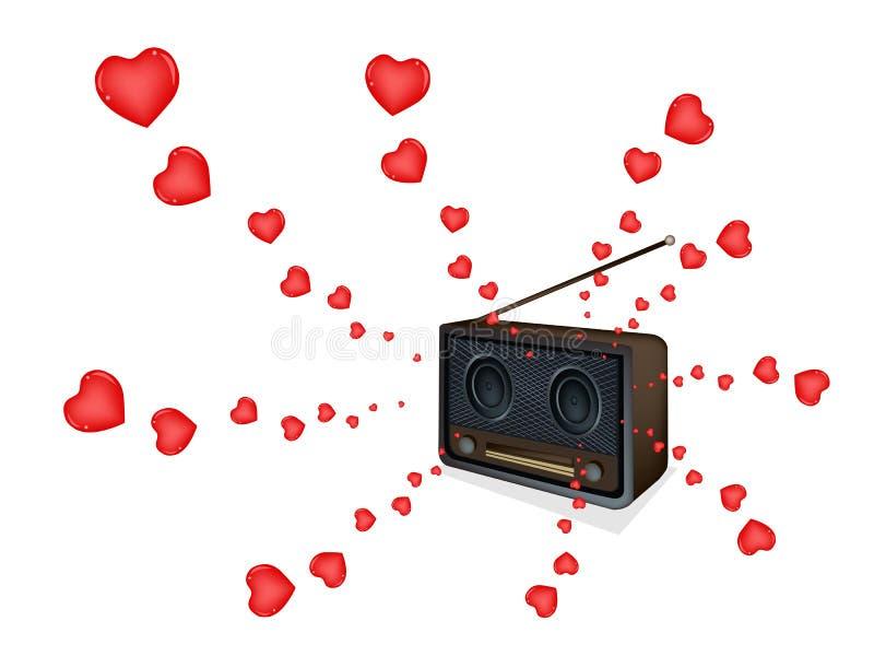 使用在一台美丽的老收音机的爱情歌曲 向量例证