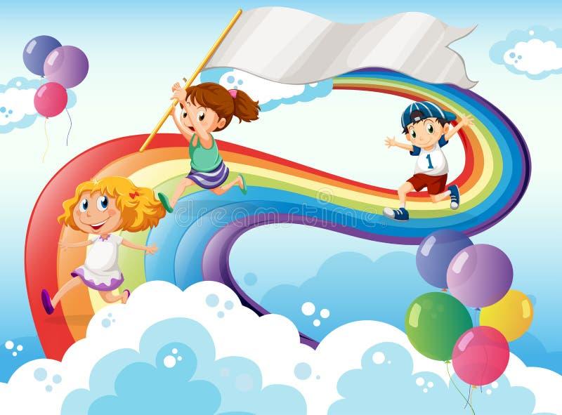 使用在与一副空的横幅的彩虹上的孩子 向量例证