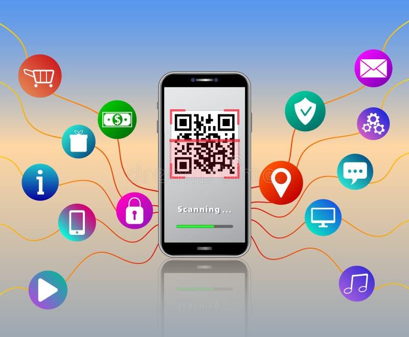 使用在与五颜六色的流动应用程序的光滑的桌上隔绝的智能手机的扫描的QR代码有象网络购物推车的媒介象的,pa 皇族释放例证