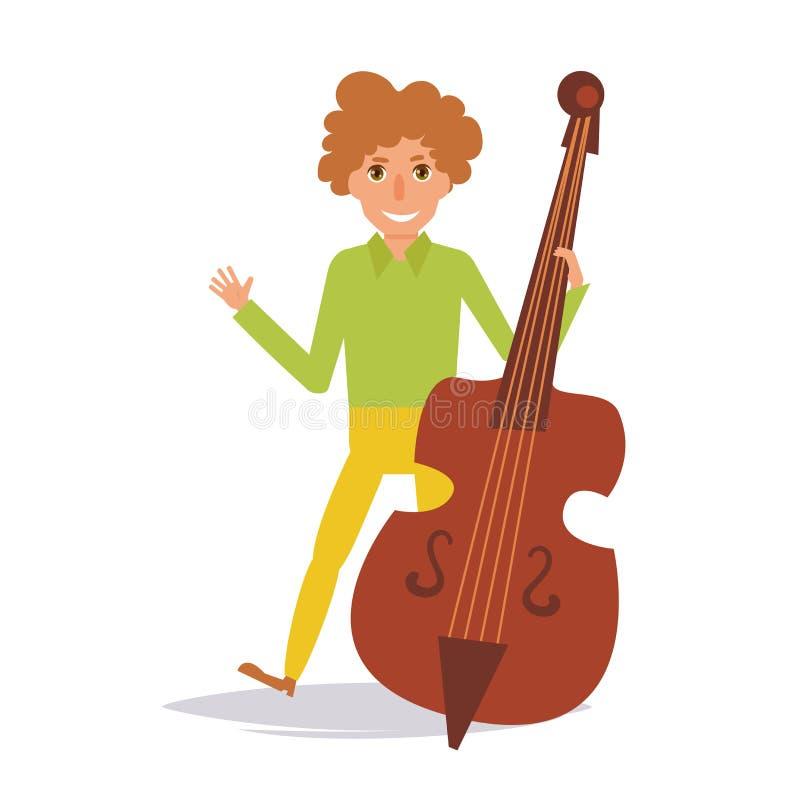 使用在低音提琴的人 向量 库存例证