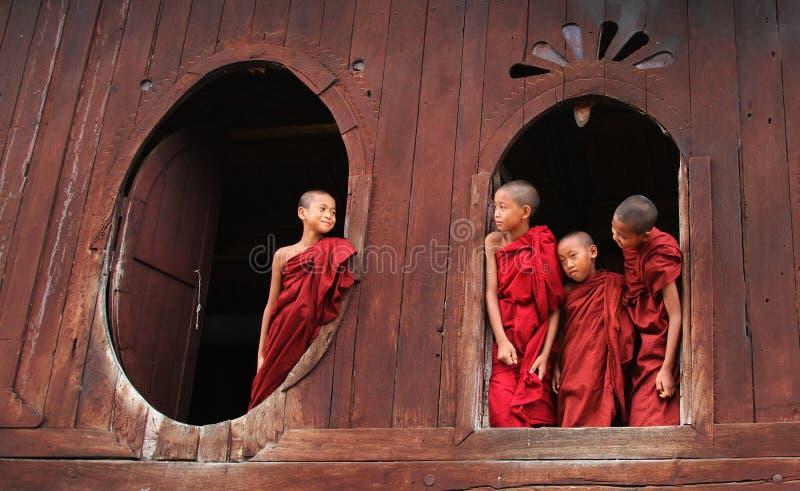 使用在修道院的新手修士在单,缅甸 免版税库存照片