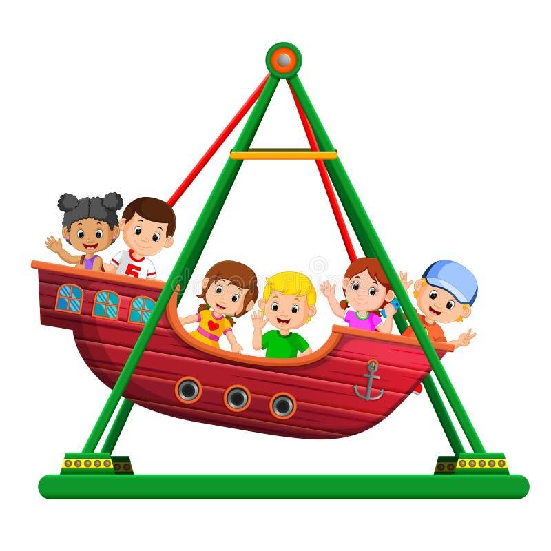 使用在北欧海盗乘驾的孩子在狂欢节 库存例证