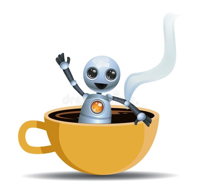 使用在咖啡的小的机器人 皇族释放例证