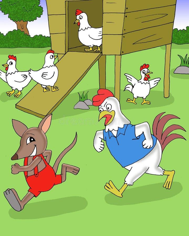 使用在围场动画片的Bandicot和鸡 皇族释放例证