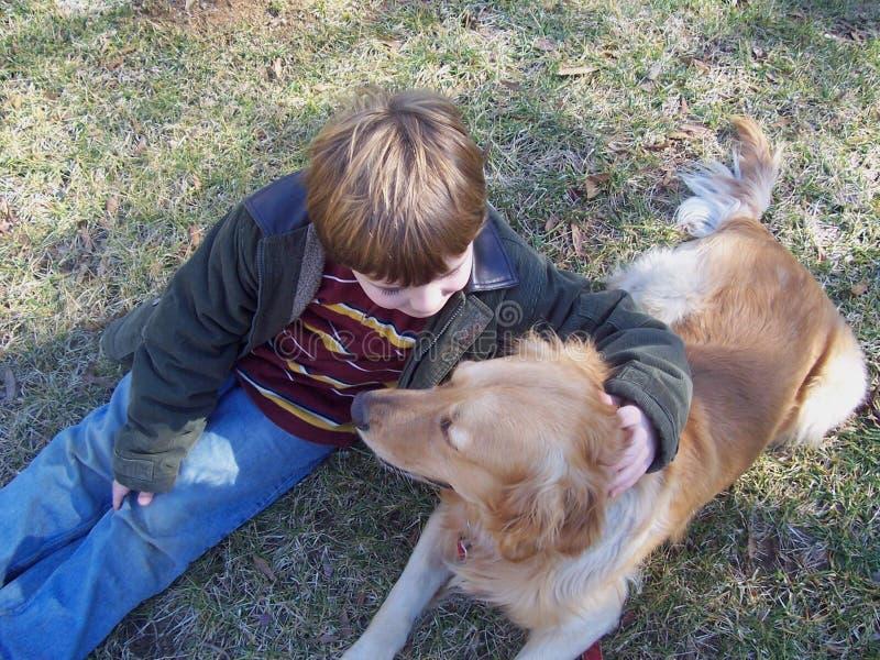 使用在域的男孩和狗 免版税库存照片