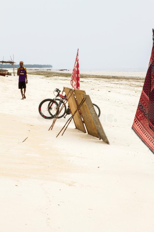 使用在帕杰海滩,桑给巴尔的孩子 免版税库存图片