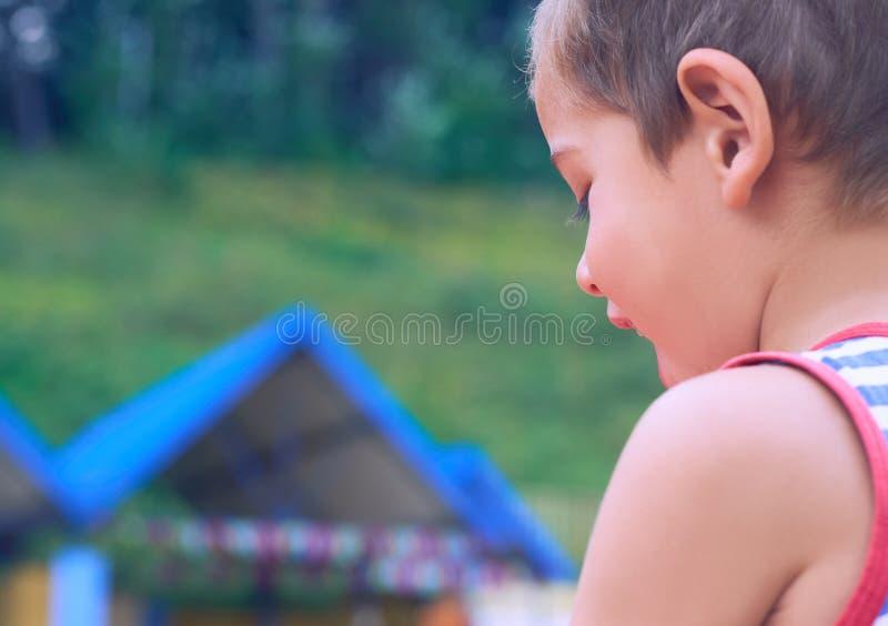使用在操场的后面观点的滑稽的逗人喜爱的愉快的小男孩 幸福、乐趣和喜悦的情感 免版税库存照片