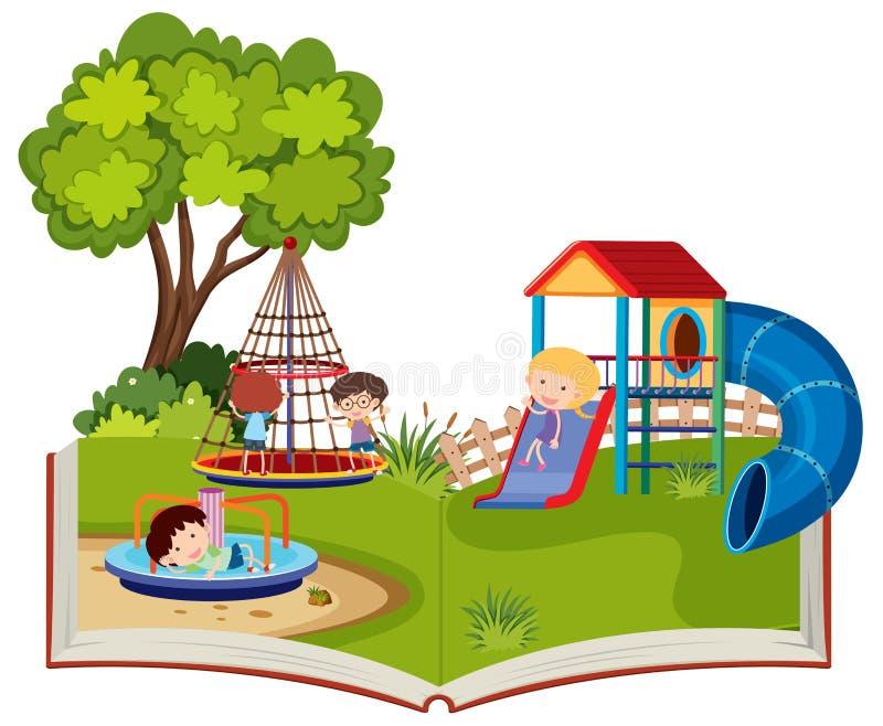 使用在操场的孩子突然出现书 向量例证