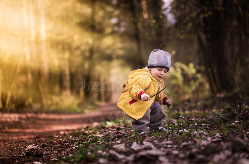 使用在春天风景的小白种人男孩 库存照片