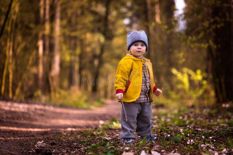 使用在春天风景的小白种人男孩 图库摄影