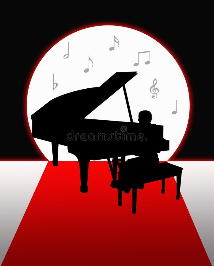 使用在月光剪影的钢琴 库存例证