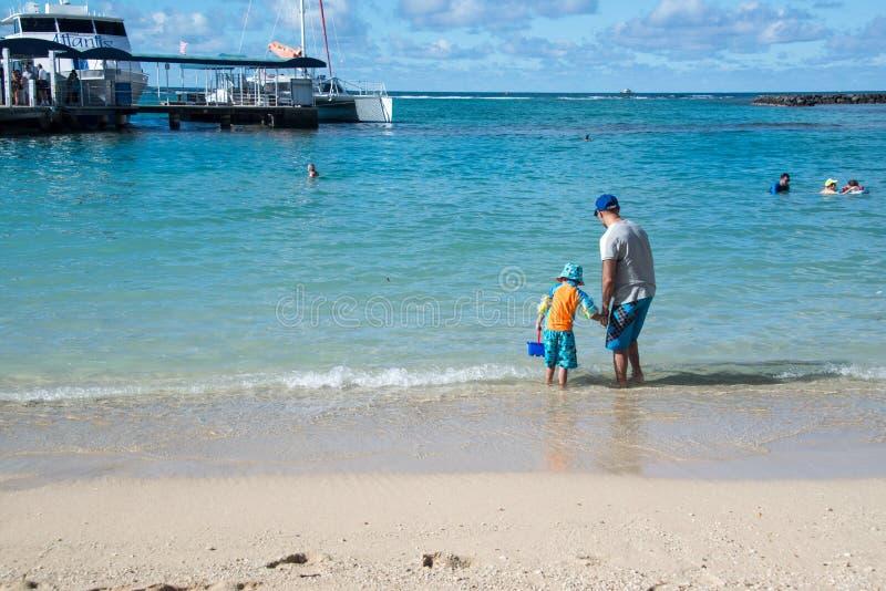 使用在柔和的蓝色海浪的父亲和小儿子在沙滩 免版税库存照片