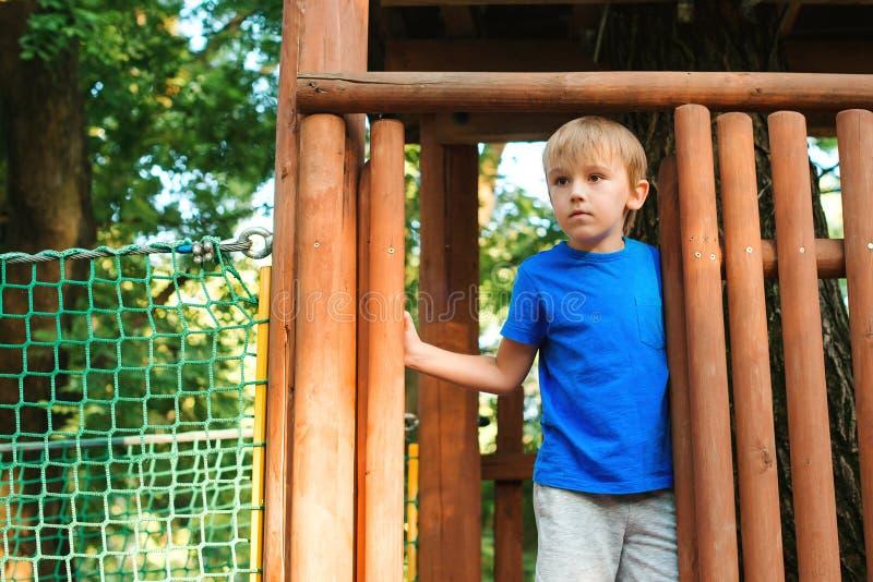 使用在树上小屋里的愉快的男孩在一个夏日 r o 孩子充当冒险 库存照片