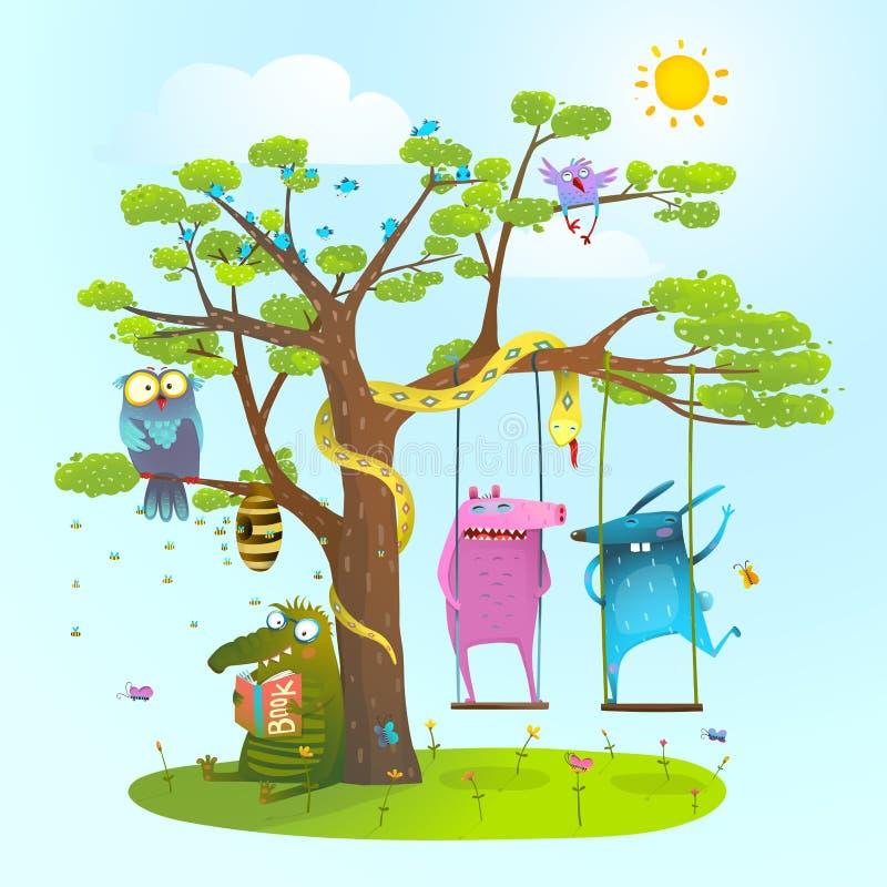使用在树,摇摆下的逗人喜爱的夏天动物朋友,读 向量例证