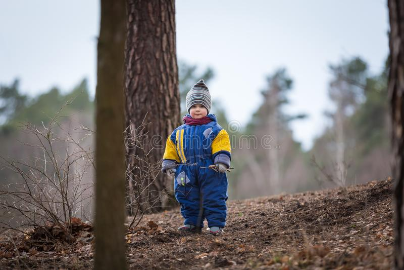 使用在森林里的小白种人男孩在早期的春天 免版税库存图片
