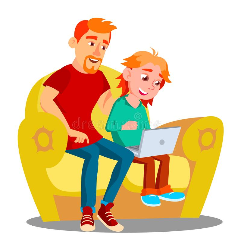 使用在沙发传染媒介的父亲和儿子膝上型计算机 按钮查出的现有量例证推进s启动妇女 皇族释放例证