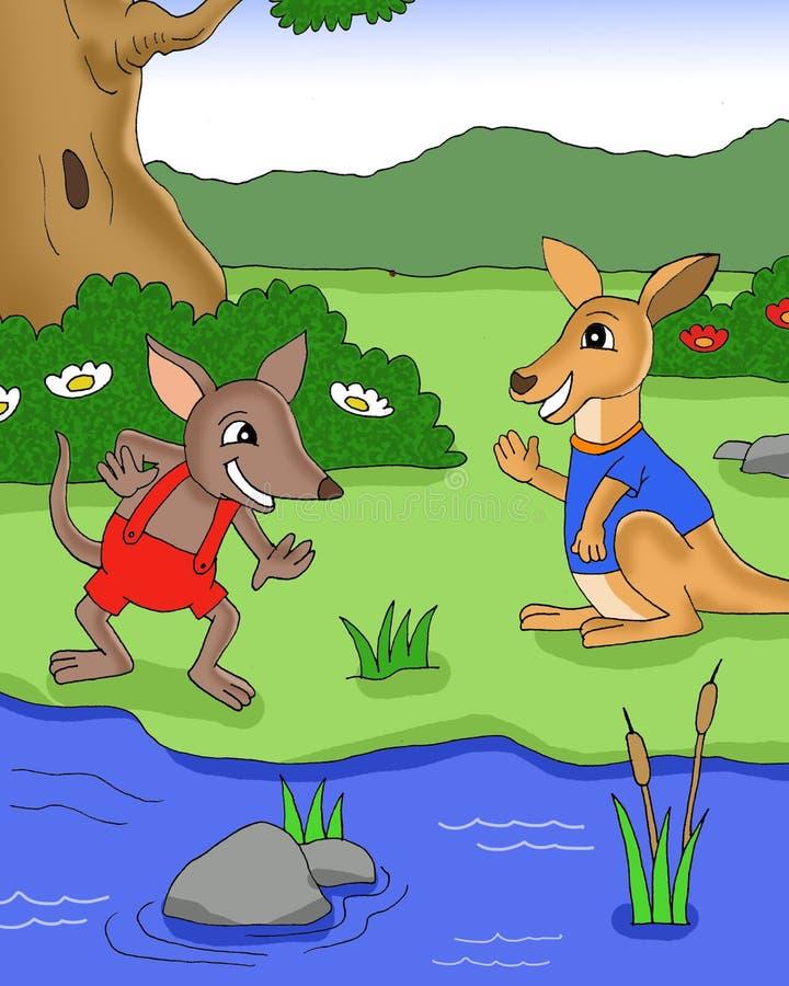 使用在河动画片银行的Bandicot和kangaroso  库存例证