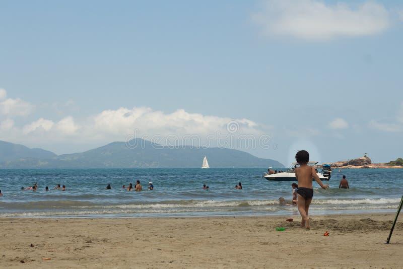 使用在海滩的人们 免版税库存照片