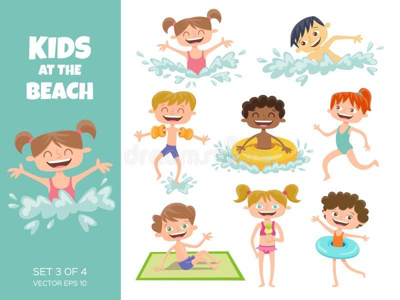 使用在海滩的孩子的汇集 漫画人物isol 向量例证