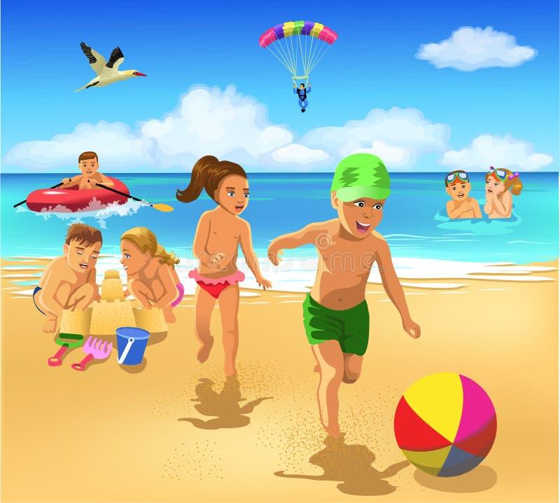 使用在海滩的孩子 库存例证