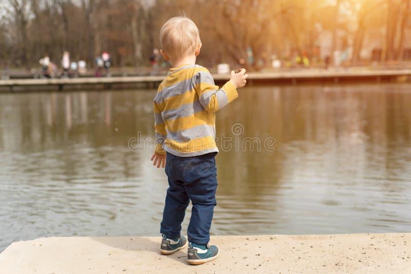 使用在湖附近的小男孩 免版税库存图片