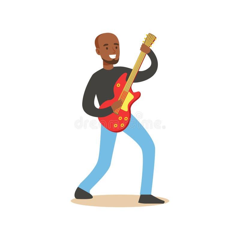 使用在电吉他的年轻黑人吉他弹奏者 库存例证